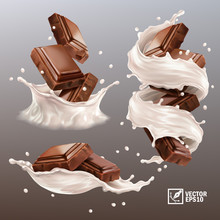 3D Realistic Vector Set,splash Of Chocolate Pieces In A Spray Of Milk Or Yogurt, Cocoa Or Coffee, Swirl And Drop