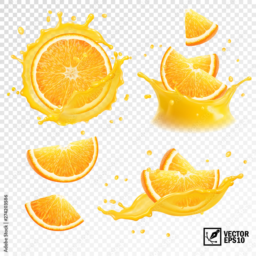Fototapety, obrazy: 3D realistic set of isolated different vector splashes of orange juice with slices and slices of orange fruit