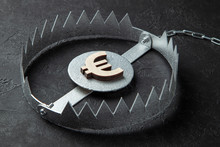 Trap With Money. Dangerous Risk For Investment Or Deception In Business. Black Background.