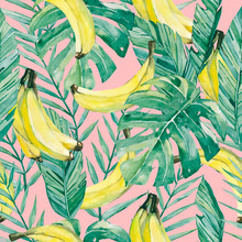 Watercolor Tropical Leaves And Banana. Seamless Pattern Summer Botanical Fruit Banana For The Textile Fabric And Wallpaper - On Color Pink Background