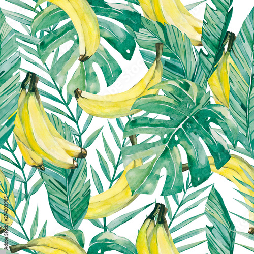 watercolor tropical leaves and banana. Seamless pattern summer botanical fruit banana for the textile fabric and wallpaper Wall mural