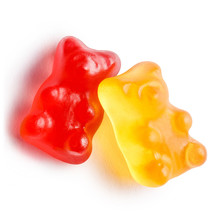 Two Colorful Jelly Gummy Bears, Isolated On White Background