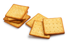 Delicious Square Crackers, Isolated On White Background