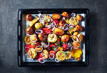 Roasted Hot Vegetables On A Baking Pan