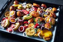 Roasted Hot Veggies On A Baking Pan