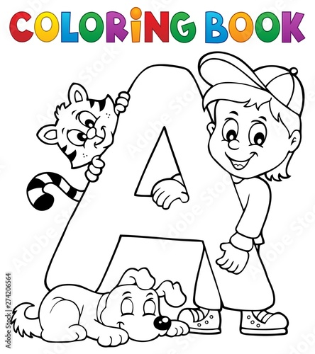 Deurstickers Voor kinderen Coloring book boy and pets by letter A