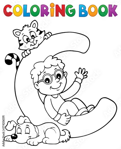Fotobehang Voor kinderen Coloring book boy and pets by letter C