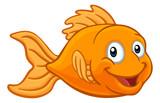 Fototapeta Fototapety na ścianę do pokoju dziecięcego - A friendly cartoon goldfish or gold fish character