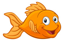 A Friendly Cartoon Goldfish Or...