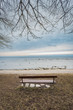 Lonely wooden bench on the autumn sea with cloudy sky