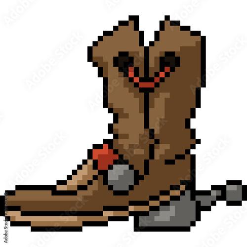 vector pixel art cowboy boot , Buy this stock vector and