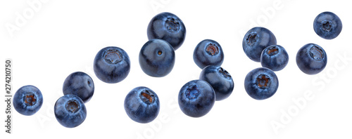 Leinwand Poster Falling blueberry isolated on white background with clipping path