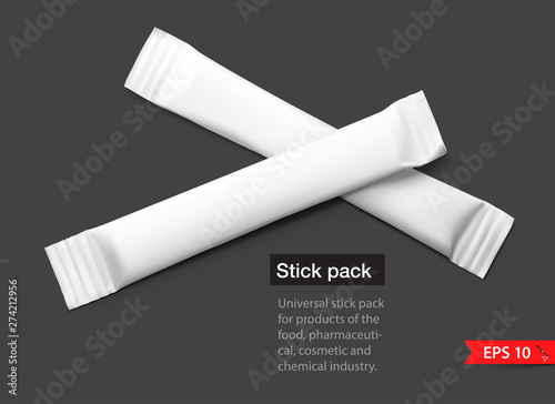 Carta da parati Realistic stick pack for products of the food and cosmetic industry on black background