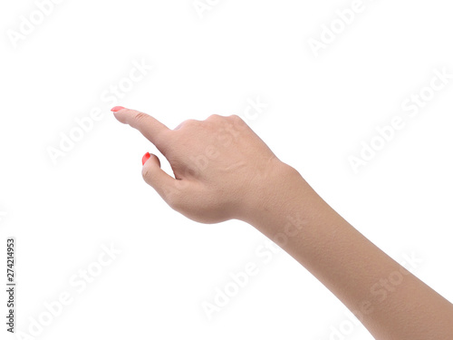 female hand touching or pointing to something 3d render on white Fototapete
