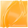 canvas print picture Yellow-orange gradient folds background. Liquid surface product display backdrop, 3d illustration.