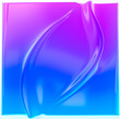 canvas print picture Blue purple gradient folds background. Liquid surface product display backdrop, fluid abstract shape, 3d illustration.