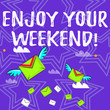 canvas print picture - Text sign showing Enjoy Your Weekend. Business photo text wishing someone that something nice will happen at holiday Many Colorful Airmail Flying Letter Envelopes and Two of Them with Wings