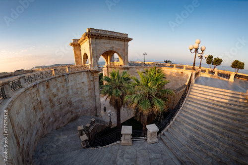 Photo  Internal staircase of Bastione Saint Remy fortification, after the redevelopment, at sunrise  in Cagliari - Castello district