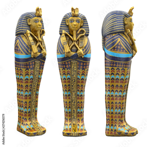 Egyptian Pharaoh Mummy Coffin Isolated Canvas Print