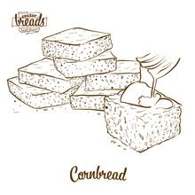 Cornbread Bread Vector Drawing