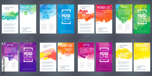 Fotomural  PrintBrochure template layout, flyer cover design with watercolor background