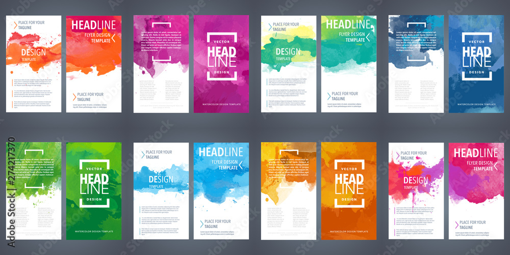 Fototapety, obrazy: PrintBrochure template layout, flyer cover design with watercolor background.