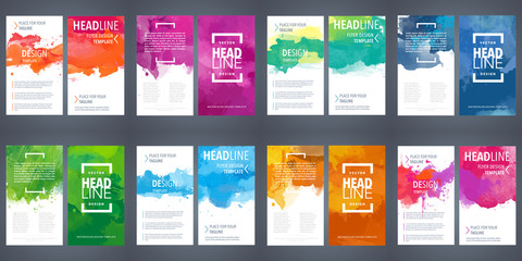 PrintBrochure template layout, flyer cover design with watercolor background.