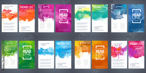 Fotografia PrintBrochure template layout, flyer cover design with watercolor background