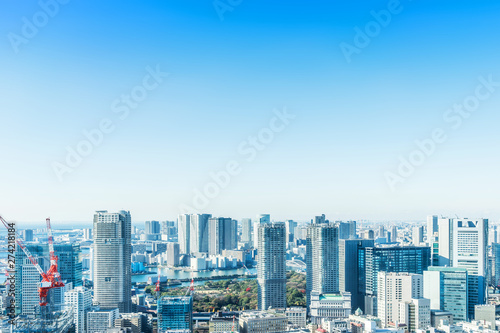 Aluminium Prints modern city skyline aerial view in Tokyo, Japan