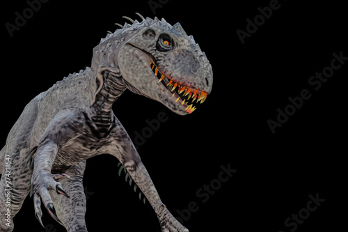indominus rex isolated  on black background Canvas Print