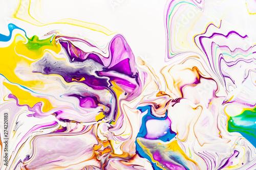 Foto auf AluDibond Graffiti Purple and yellow vibrant abstract marbled texture. Vibrant, colorful, liquid, fluid art background.