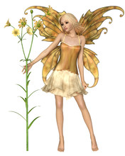 Imaginary 3d Rendered Fantasy Illustration Of A Pretty Blonde Fairy With Yellow Flowers And Wings