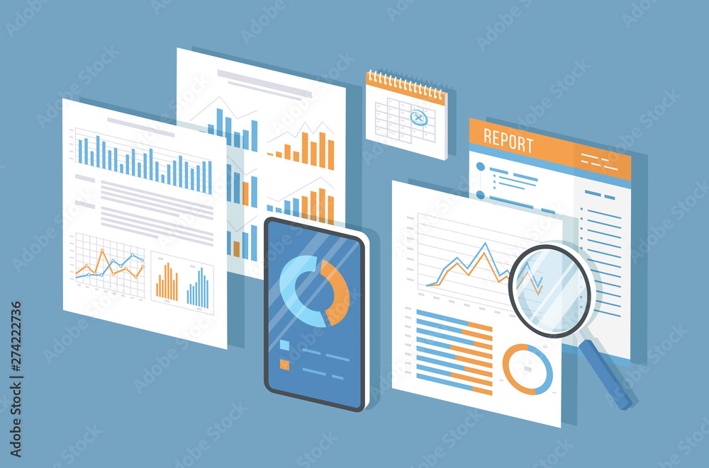 Fototapeta Mobile auditing, data analysis, statistics, research. Phone with information on the screen, documents, report, calendar, magnifier. Growing charts and graphics. Isometric 3d vector illustration.