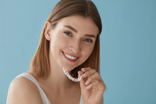 Teeth Whitening. Woman With He...