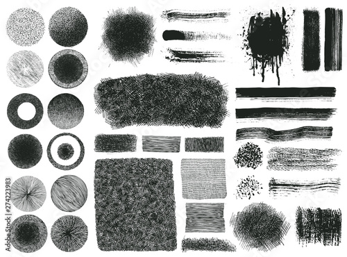 Fototapeta  Set of brush strokes, grunge halftone drawing textures