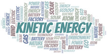 Kinetic Energy Word Cloud. Wordcloud Made With Text Only.
