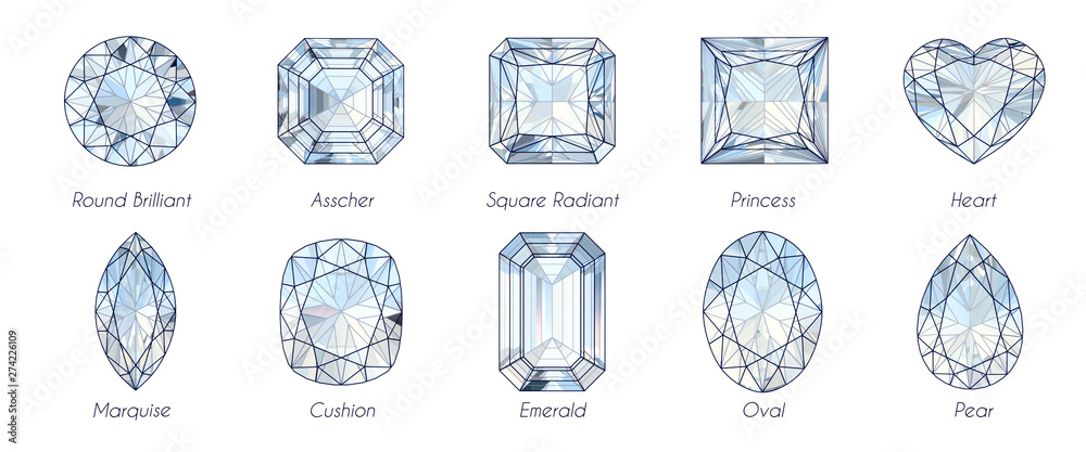 Fototapety, obrazy: Ten popular diamond shapes with titles on white background.