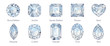 canvas print picture - Ten popular diamond shapes with titles on white background.