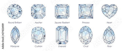 Fotomural  Ten popular diamond shapes with titles on white background.