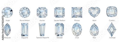 Valokuvatapetti Fourteen various diamond shapes with titles on white background.