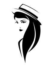 Elegant Brunette Woman With Long Hair Wearing Boater Hat - Simple Black And White Vector Portrait Of Attractive Young Lady