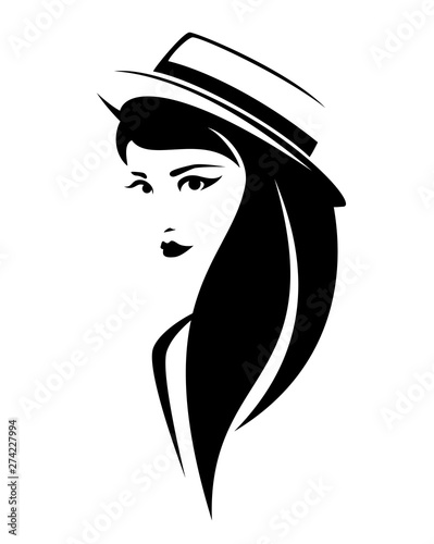 elegant brunette woman with long hair wearing boater hat - simple black and whit Wallpaper Mural