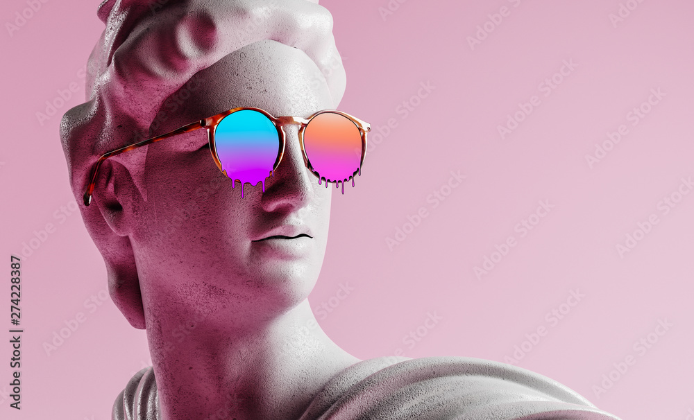 Fototapeta Apollo style design background vaporwave concept. 3d Rendering.