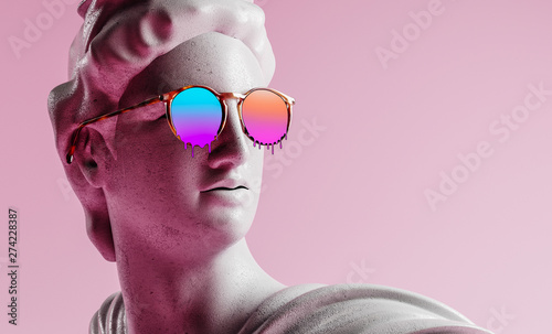 Apollo style design background vaporwave concept. 3d Rendering. Fototapeta