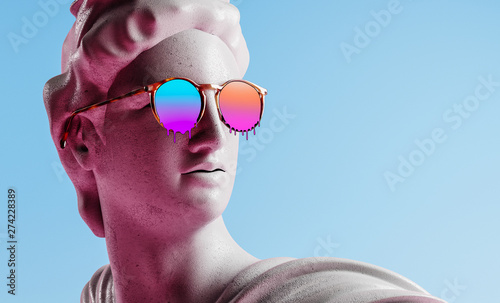 Tela Apollo style design background vaporwave concept. 3d Rendering.