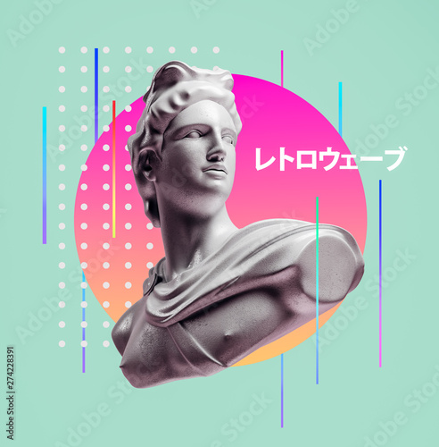 Apollo style design background vaporwave concept. 3d Rendering. Fotobehang