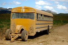 An Abandoned Yellow School Bus