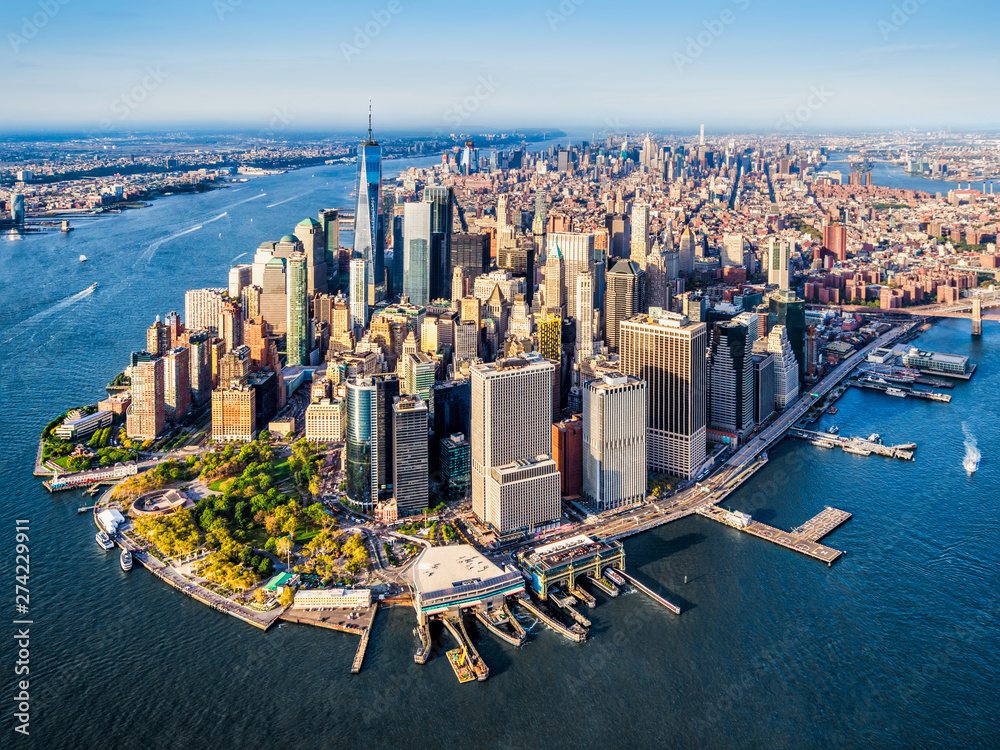 Fototapety, obrazy: Aerial view of Lower Manhattan at sunset. New York. USA