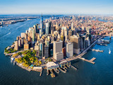 Fototapeta New York - Aerial view of Lower Manhattan at sunset. New York. USA