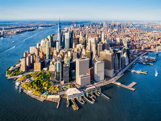 Aerial view of Lower Manhattan at sunset. New York. USA